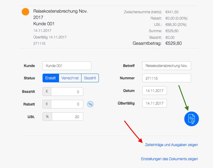 Reisekostenabrechnung - Rechnungserstellung