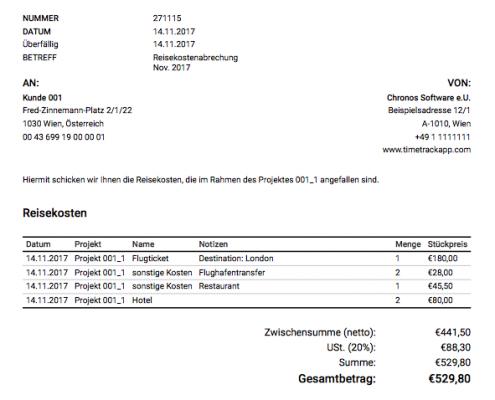 Abrechnung - Rechnung als PDF