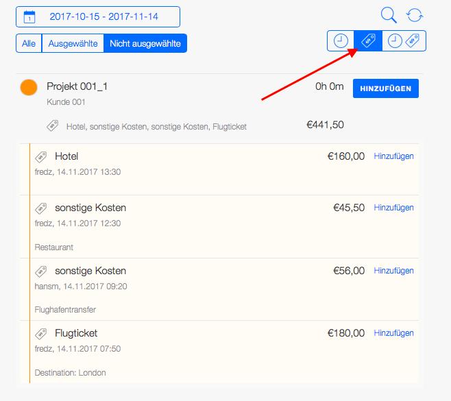 Reisekostenabrechnung - Projektzeiten und Ausgaben