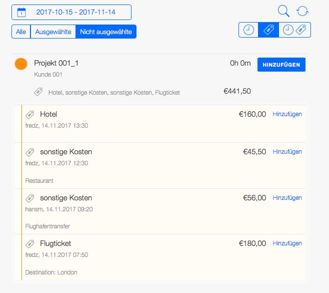 Projektabrechnung - Reisekostenabrechnung