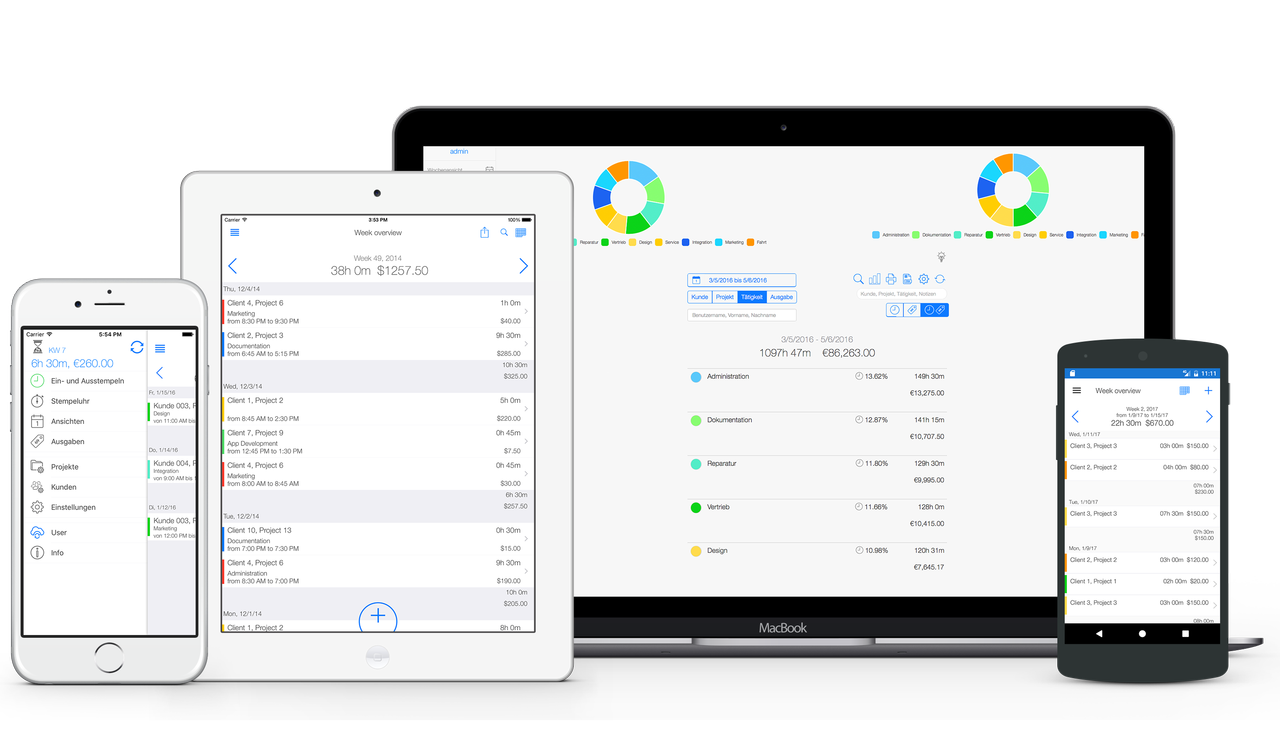 Projektzeiterfassung - Überblick für alle Geräte