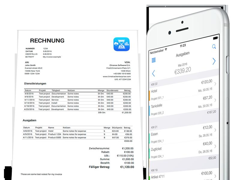 Projektabrechnung - Rechnung Mobile App