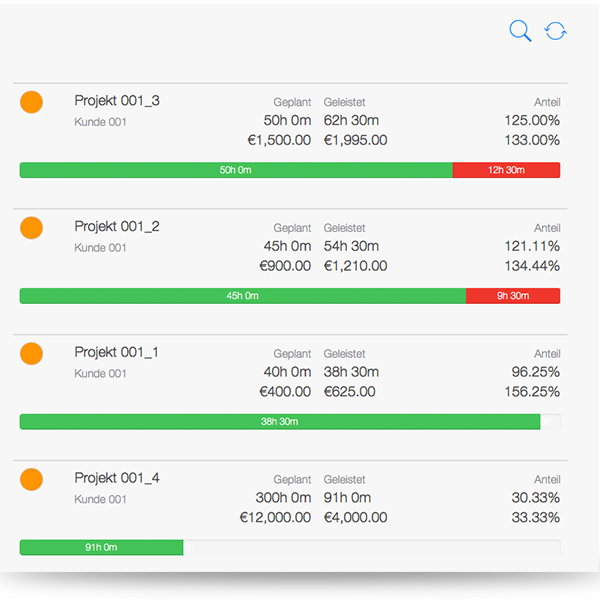 Projektcontrolling - Übersicht Projektverfolgung