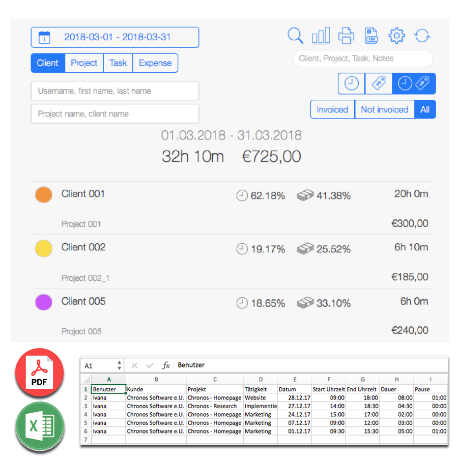 Employee Time Tracking - Data export