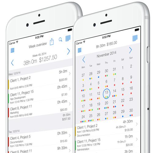 Zeiterfassung App - Ansichten