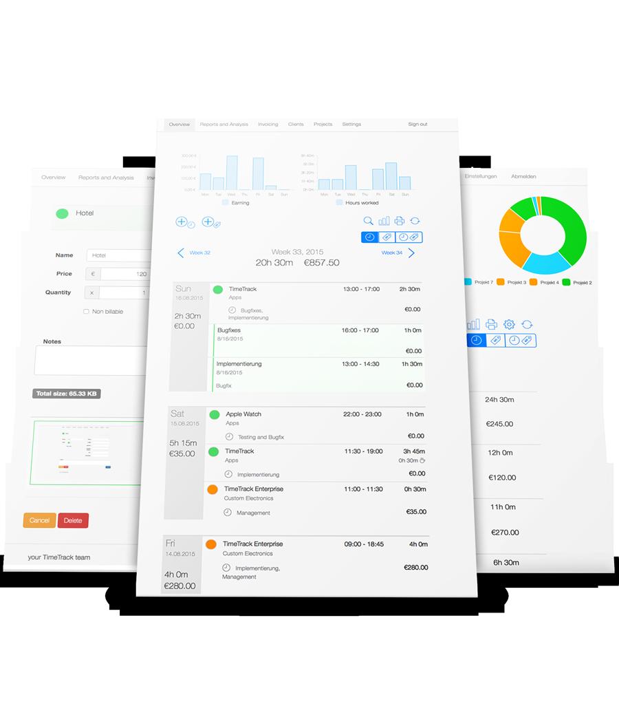 Zeiterfassung für Unternehmen - Web App Übersicht