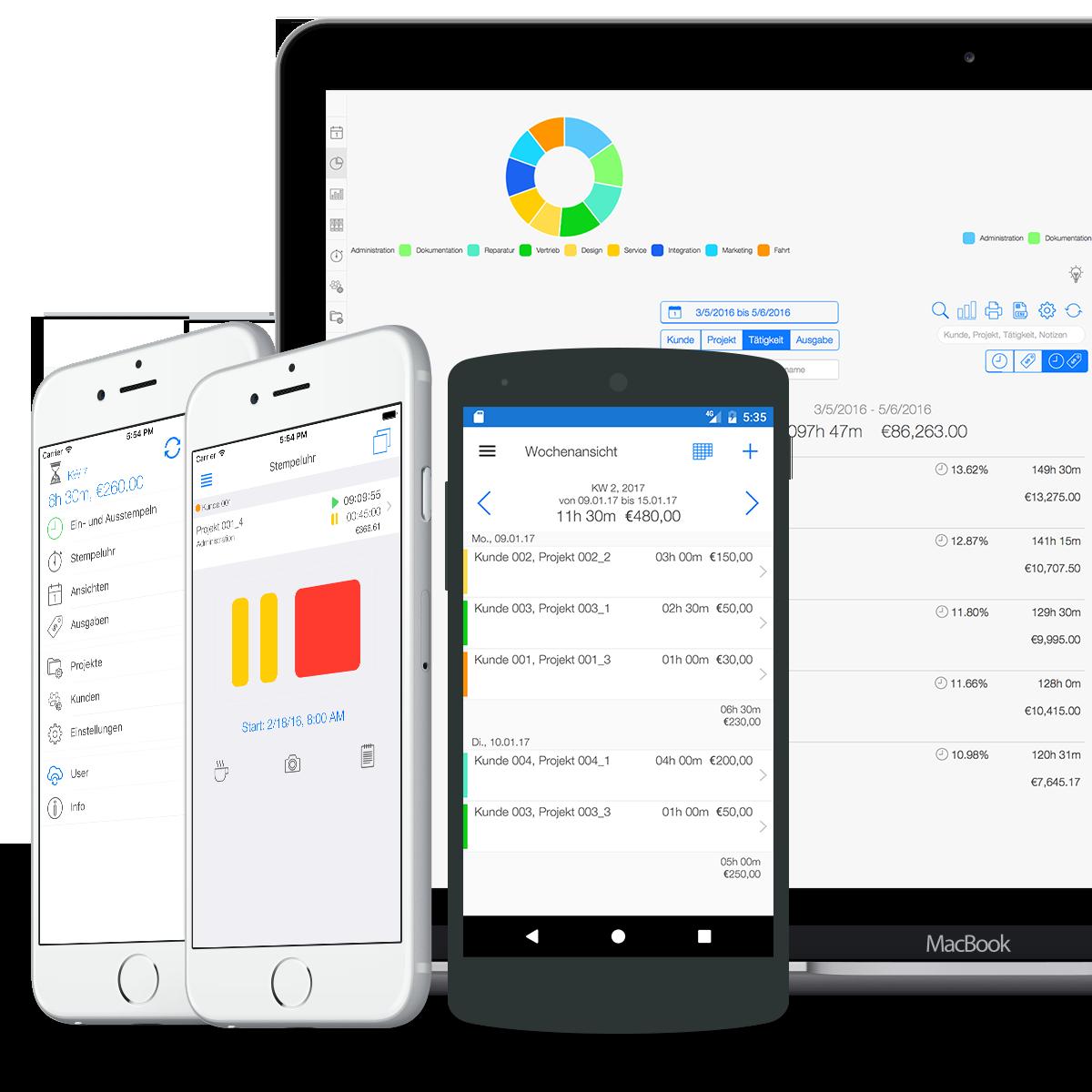 Zeiterfassung für Dienstleister - Übersicht auf allen Geräten