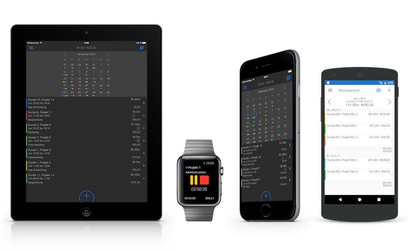 Zeiterfassung App - Übersicht alle Geräte