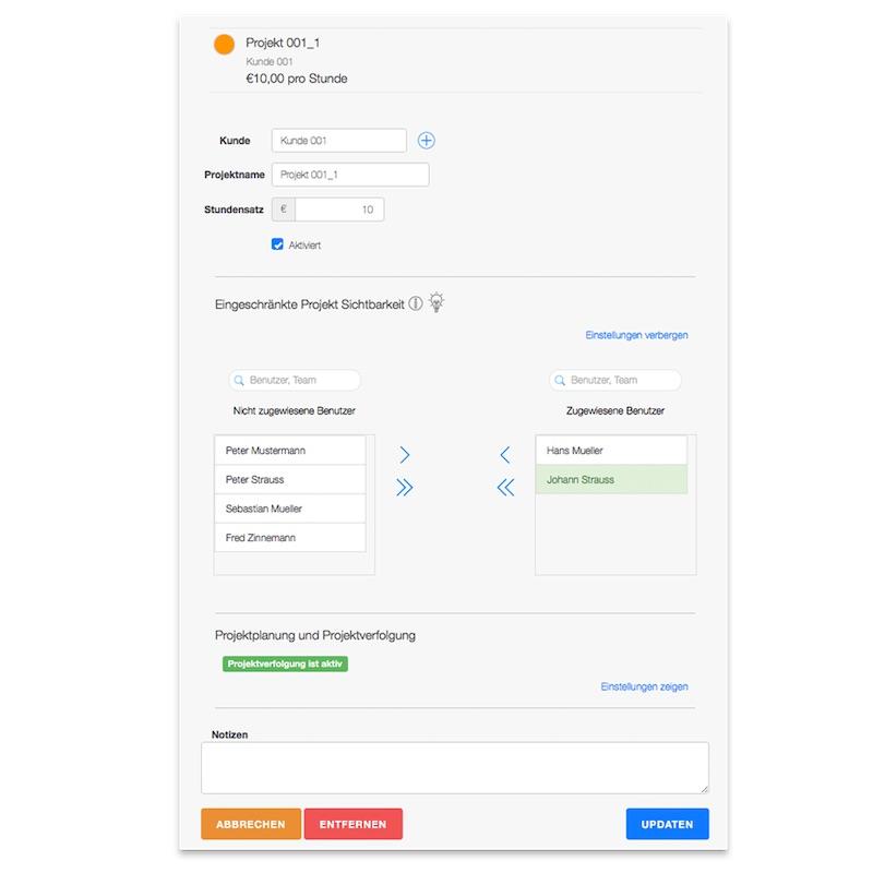 Projektzeiterfassung - Benutzerberechtigung