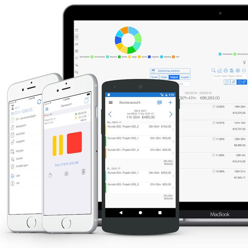 Arbeitszeiterfassung - Web und Mobile App Übersicht