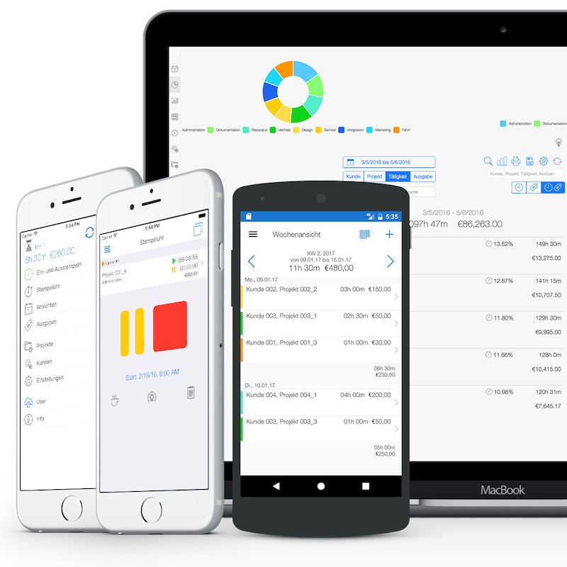 Projektmanagement Software - Zeiterfassung App