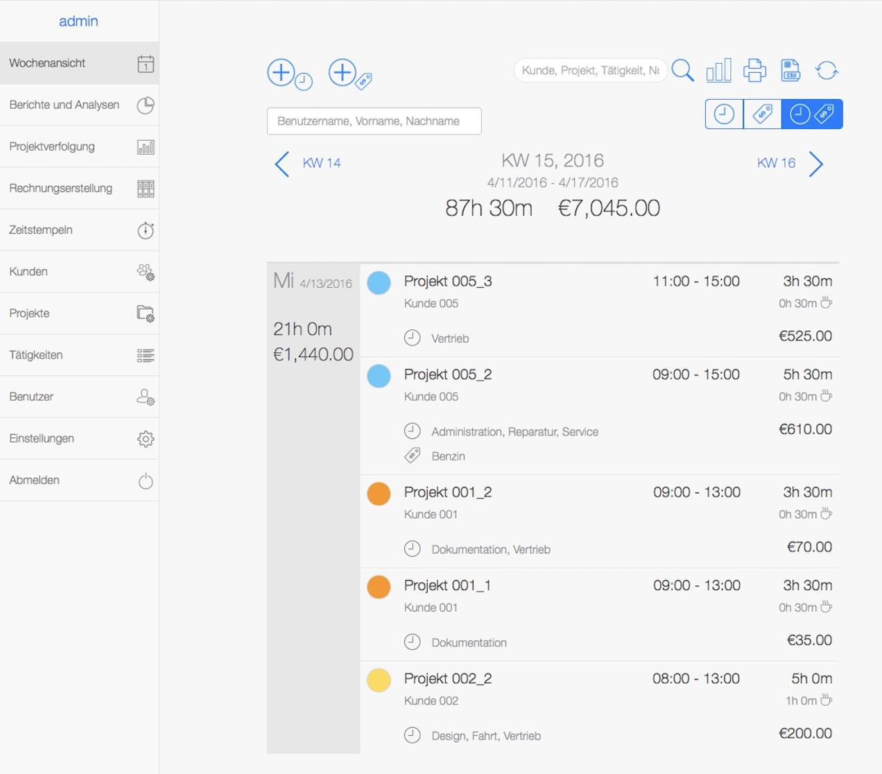 Zeiterfassungssystem - Web App Überblick