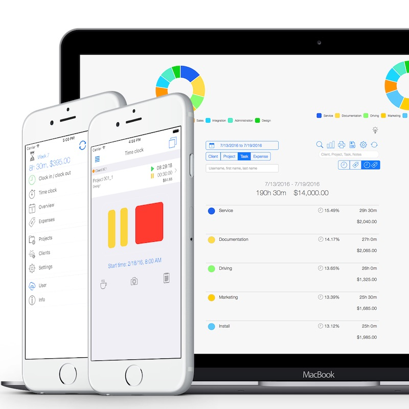 Time tracking software for the construction industry - Web App overview