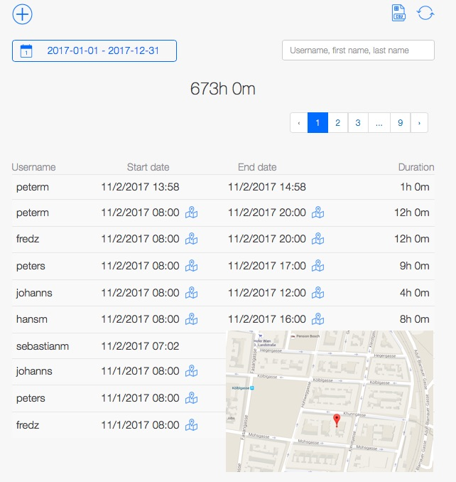 Time tracking software for craftsmen - GPS location