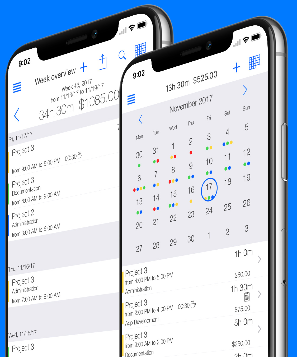 Time tracking software - Calendar weekly overview