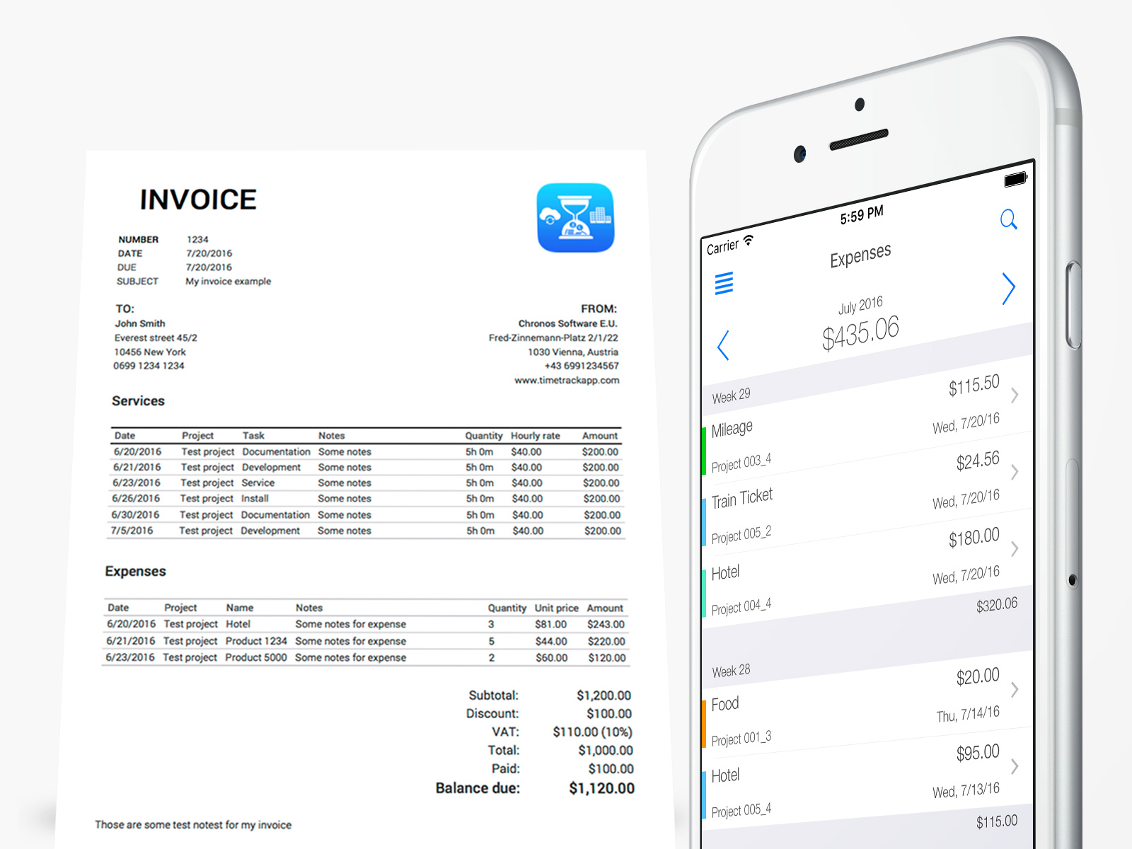 Time tracking for architects - Invoicing