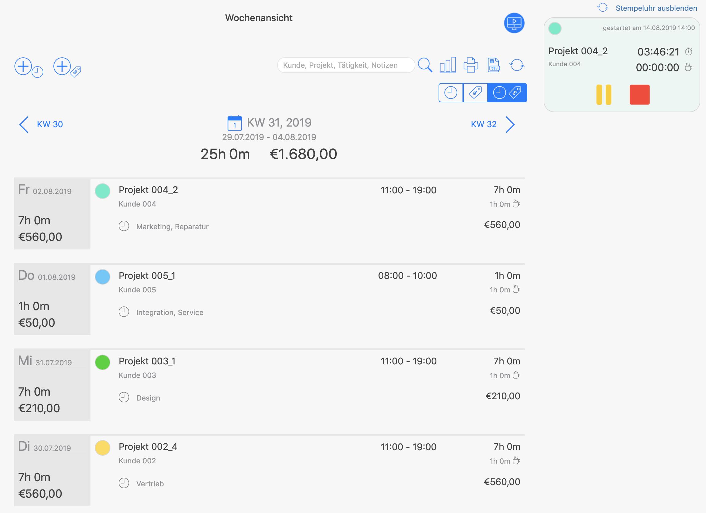 Projektzeiterfassung - Integrierte Stempeluhr zur Verfolgung der Projektzeiten