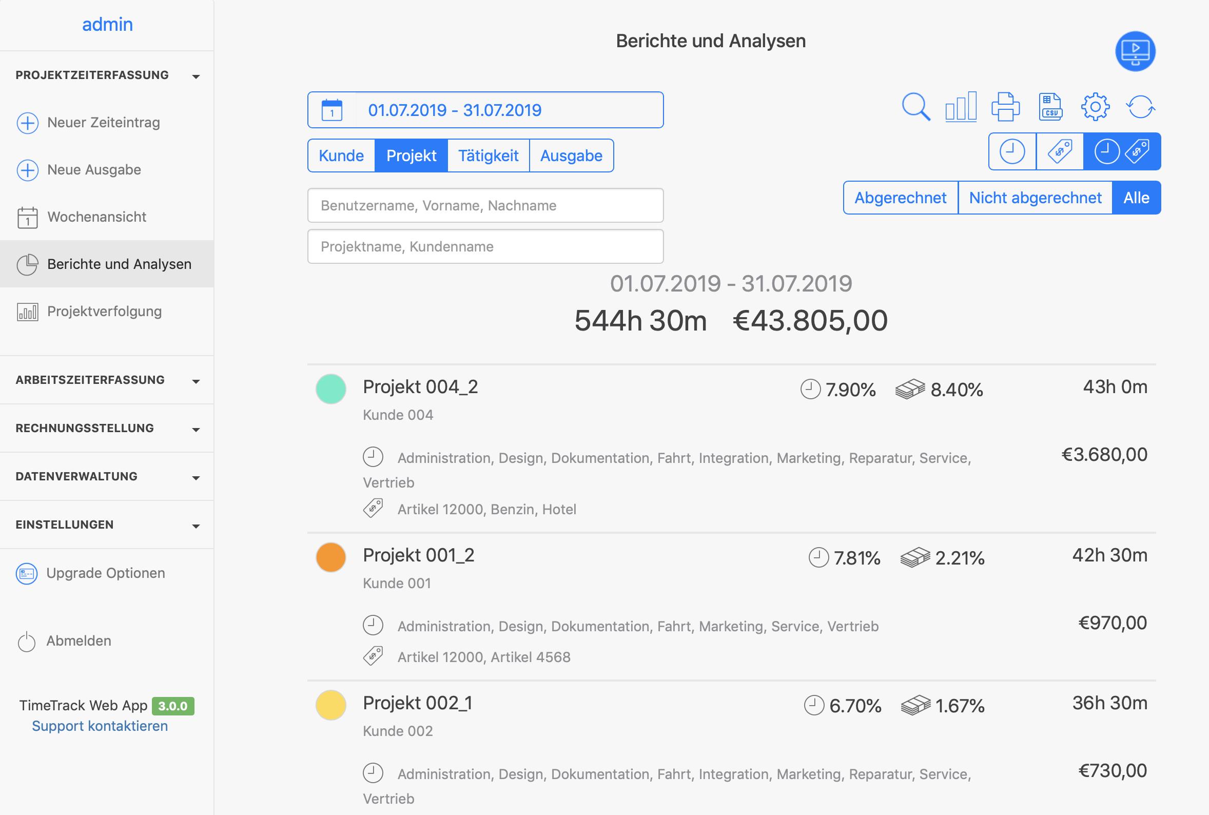 Zeiterfassung App - Projektzeiterfassung Auswertungen